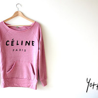 Women Crop Sweatshirt - Celine LOGO