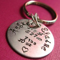 Birth Announcement Key Chain | Spiffing Jewelry