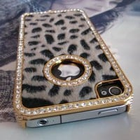 Amazon.com: Luxury Designer Bling Crystal Leopard Cheetah Fur Hard Case Cover for Apple IPhone 4 4S: Cell Phones &amp; Accessories