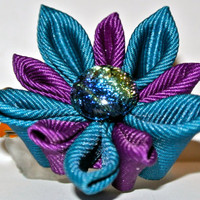 Plum and dark teal grosgrain ribbon kanzashi fabric flower clip