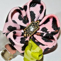 Pink cheetah print grosgrain ribbon kanzashi hair flower clip with lime green leaf