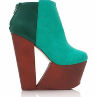 two-tone-cut-out-wedge-booties BLACK CAMEL GREEN - GoJane.com