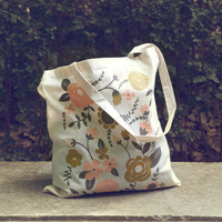 Flowers - screen printed canvas Tote bag