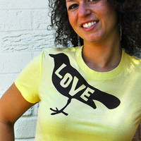 Love Bird Favorite Tshirt in Canary Yellow XL Size by dirTapparel