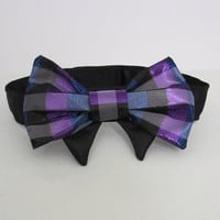 Dog clothes, Holiday Dog bow Tie in Jewel tone plaid
