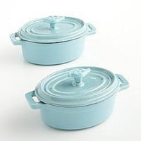 Martha Stewart 2 Enameled Cast-iron Mini Casseroles