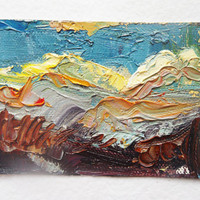 "Small original oil painting. ACEO art card. ""After the Storm"" by Brandy Cattoor. Abstract mountain, purple, blue, yellow"