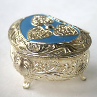 Vintage Heart Shaped Box Silver and Blue Enameled Metal Jewelry Trinket Box