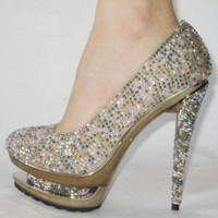 Gianmarco Lorenzi Colorful Crystal Pumps [20101007] - $209.00 : shoesoutletus.com, shoesoutletus.com