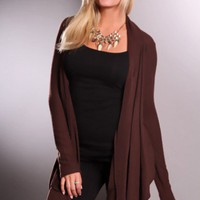 Brown Asymmetrical Draped Long Sleeve Adorable Sweater @ Amiclubwear Clothing,sexy club wear,women's party wear,sexy clothes,evening dress,v neck sweater dress,mini sweater dress,cashmere sweater set,women's turtleneck sweaters,short sleeve turtleneck swe