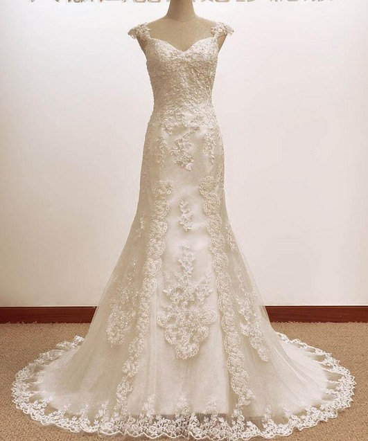 Classic Trumpet Wedding Dresses : Vintage trumpet mermaid a line lace from lassdress on etsy