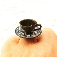 Black Teacup And Saucer Ring by SouZouCreations on Etsy