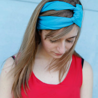 Jersey Knit Upcycled headband in Turquoise or your school colors for graduation