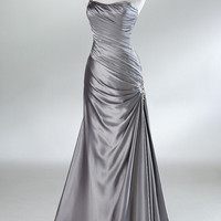 2012 Style A-line Sleeveless Floor-length Elastic Woven Satin Prom Dresses / Evening Dresses