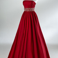 2012 Spring Style Sheath / Column Strapless Ruffles Sleeveless Floor-length Taffeta Prom Dresses / Evening Dresses