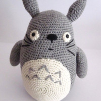 Big Totoro inspired amigurumi, 100% merino wool