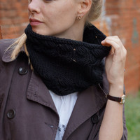 Hand knitted chunky women cowl black for her Halloween autumn trends bright
