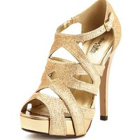 Glitter Peep-Toe Cage Heel: Charlotte Russe