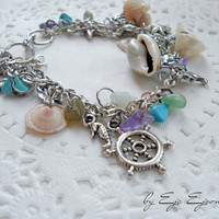 Nautical beach bracelet - Nice stone pendants cockleshell bracelete - Marine fashion jewelry - Summer trends