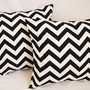 BOGO Sale - 2 Chevron Decorative Throw Pillow Covers Black and White - 16 x 16 inches Cushion Cover Accent Pillow
