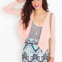 Chiffon Crop Jacket - Peach