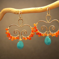 Luxe Bijoux 118 Hammered swirls with carnelian and turquoise