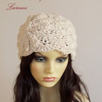 Cotton Cream Chunky Women Beanie Hat with Crochet Flower