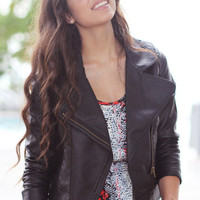 Faux Leather Moto Jacket - Furor Moda - Tops - Dresses - Jackets - Vintage