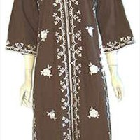 Vintage 70s Hippie Caftan Dress Embroidery