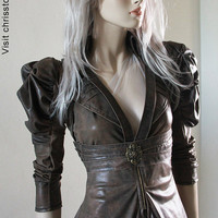 Steampunk Jacket Bolero Leather Tulle Skirt  SPECIAL by achrisst