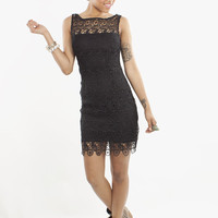 BB Dakota Morrow Crochet Lace Black Sheath Dress | MessesOfDresses.com