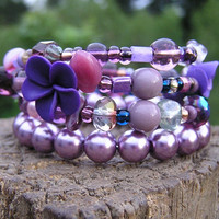 4 loops Beaded memory wire bracelet Wear by donnaelizabethdesign