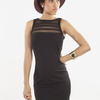 Sorina Ponte Knit Little Black Dress By BB Dakota With Mesh Insets | MessesOfDresses.com