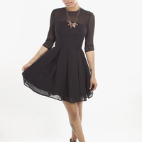 BB Dakota Rylan Mesh Pleated Little Black Dress | MessesOfDresses.com