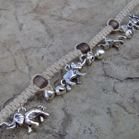 Charm Bracelet or Anklet Elephant Charms Hemp by KnottyanNice