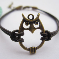 Owl bracelet--antique bronze lovely owl,alloy chain bracelet