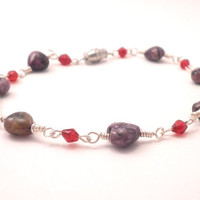 Charoite Chain Bracelet - Purple Hearts with Red Bicones and Silver Wire