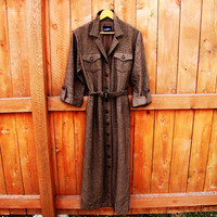 vintage textured brown tailored dress. fall fashion. military dress. size M to L