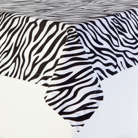 Black and White Zebra Print Table Cloths | Animal Prints by Sin in Linen