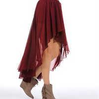 Burgundy Chiffon Wrap Skirt