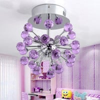 6-light Floral Shape K9 Crystal Ceiling Light-Purple (0942-98004-C-6P) - US$ 98.99