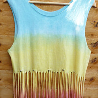 Triple Pastel Coloured Dip Tie Dye Fringe Tassle Top Vest Studded Spike Shoulders Oversize  Pink Yellow Teal