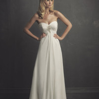 2011 Far & Away by Allure - White Chiffon Pleated Empire Waist Strapless Sweetheart Destination Wedding Dress - 2 to 32 - Unique Vintage - Bridesmaid & Wedding Dresses