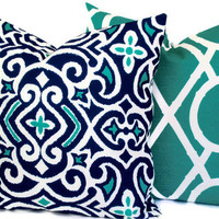 Decorative pillow cover  Throw pillow Pillow cover Robert Allen Damask Print  Navy  Turquoise  White