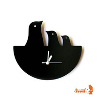 Black Bird Nest Hanging Clock