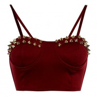 Red Cropped Bralet with Gold Stud Embellishment