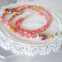 Beaded ID Badge Lanyard Pink Orange Polymer Clay, Breakaway Style