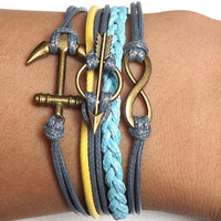 Bronze bracelets infinite arrow and  anchor  blue yellow wax line, gray wax wire braided Bracelet