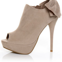 Bamboo Colada 52 Nude Back Bow Peep Toe Booties - &amp;#36;41.00