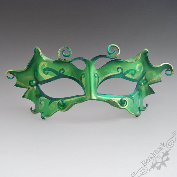 Leather Mask Absinthe Fairy in Emerald Forest by beadmask